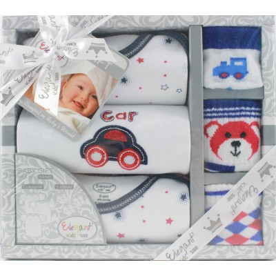 Elegant Kids Bodysuit & Socks 6 Pcs Gift Set