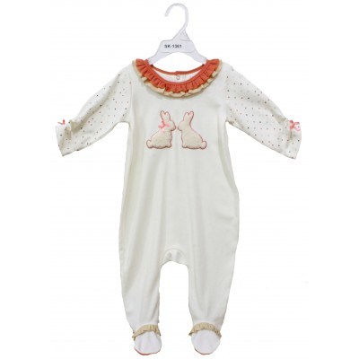 SLEEPSUIT WITH FOOT & EMBROIDERY