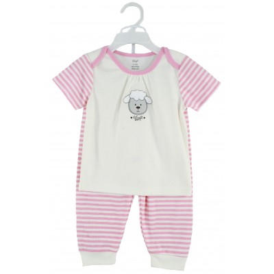 PYJAMA SET(SOLID T-SHIRT & AOP PANT)