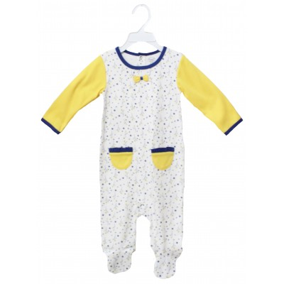SLEEPSUIT(AOP BODY&SOLID SLEEVE) WITH FOOT & EMB
