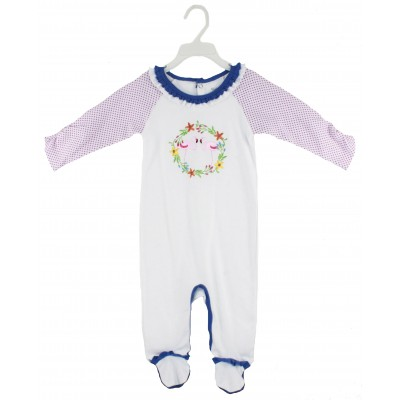 SLEEPSUIT(SOLID BODY&AOP SLEEVE) WITH FOOT & EMB