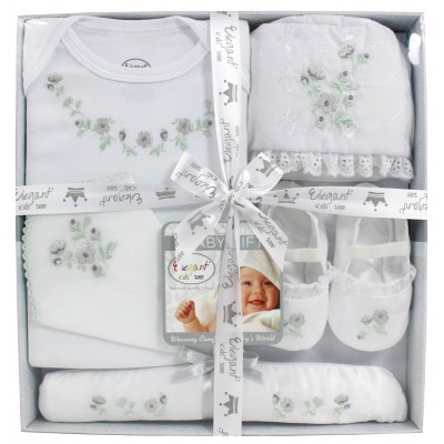 Elegant Kids Bodysuit 5 Pcs Baby Gift Set