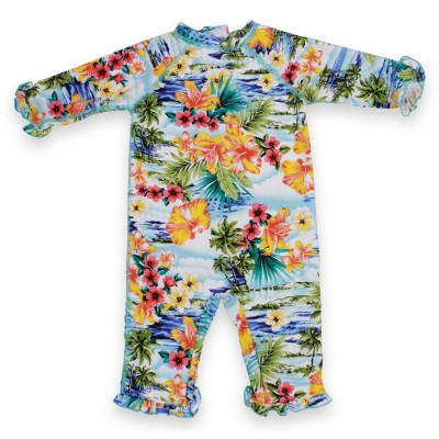 Girls Long Romper Swim Suit